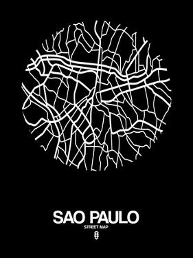 Sao Paulo Street Map Black by NaxArt