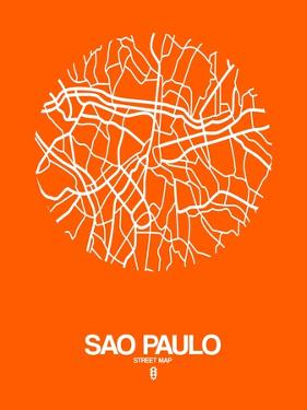 Sao Paulo Street Map Orange by NaxArt