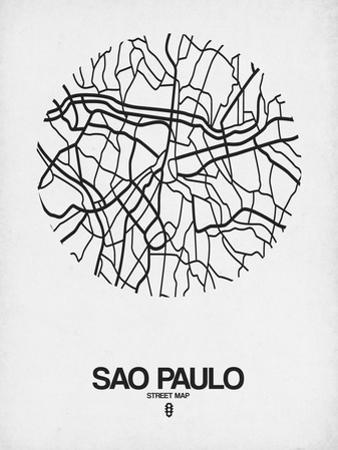Sao Paulo Street Map White by NaxArt