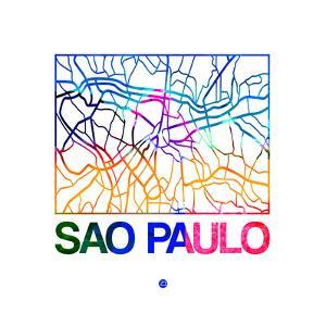 Sao Paulo Watercolor Street Map by NaxArt