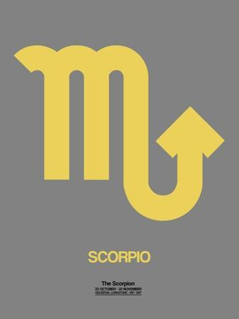 Scorpio Zodiac Sign Yellow on Grey by NaxArt