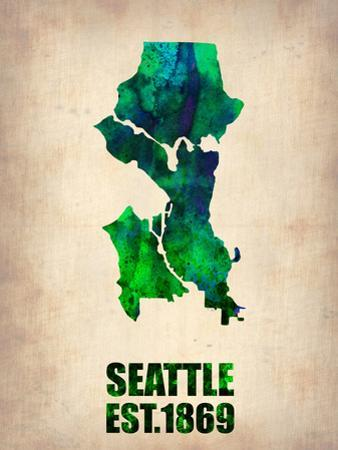 Seattle Watercolor Map by NaxArt