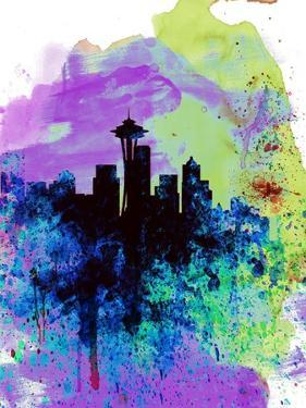 Seattle Watercolor Skyline 1 by NaxArt