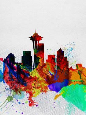 Seattle Watercolor Skyline 2 by NaxArt