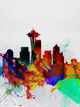 Seattle Watercolor Skyline 2 by NaxArt