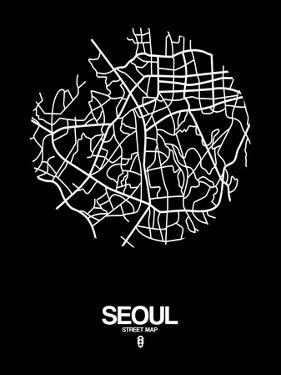 Seoul Street Map Black by NaxArt