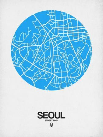 Seoul Street Map Blue by NaxArt