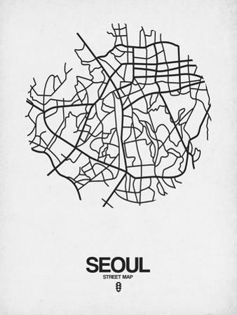 Seoul Street Map White by NaxArt
