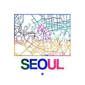 Seoul Watercolor Street Map by NaxArt