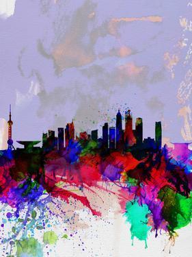 Shanghai Watercolor Skyline by NaxArt