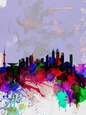 Shanghai Watercolor Skyline by NaxArt