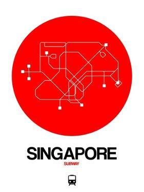 Singapore Red Subway Map by NaxArt