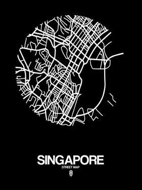 Singapore Street Map Black by NaxArt