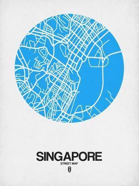 Singapore Street Map Blue by NaxArt