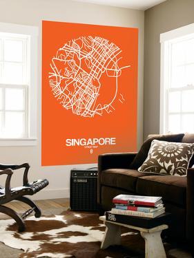 Singapore Street Map Orange by NaxArt