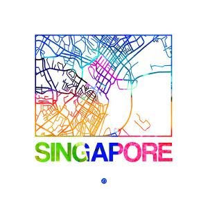 Singapore Watercolor Street Map by NaxArt