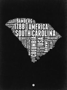 South Carolina Black and White Map by NaxArt