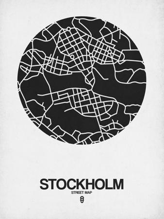Stockholm Street Map Black on White by NaxArt