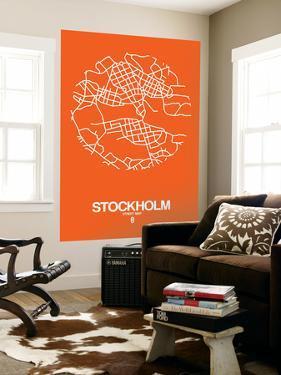 Stockholm Street Map Orange by NaxArt