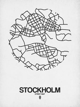 Stockholm Street Map White by NaxArt