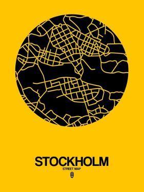 Stockholm Street Map Yellow by NaxArt