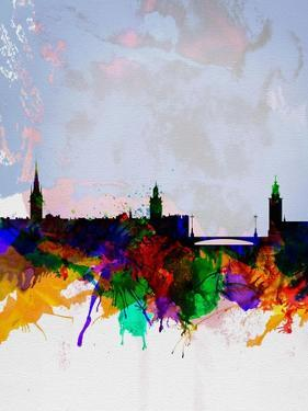 Stockholm Watercolor Skyline by NaxArt
