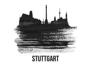 Stuttgart Skyline Brush Stroke - Black II by NaxArt