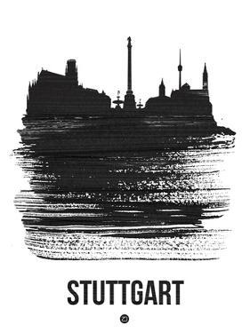 Stuttgart Skyline Brush Stroke - Black by NaxArt