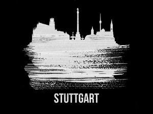 Stuttgart Skyline Brush Stroke - White by NaxArt
