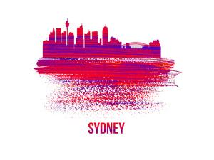 Sydney Skyline Brush Stroke - Red by NaxArt