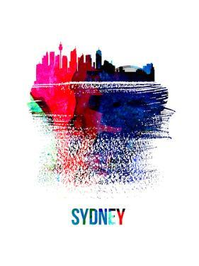 Sydney Skyline Brush Stroke - Watercolor by NaxArt