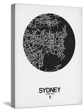 Sydney Street Map Black on White by NaxArt