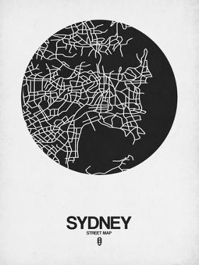 Sydney Street Map Black on White by NaxArt