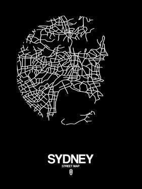 Sydney Street Map Black by NaxArt