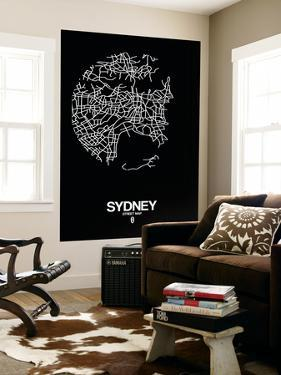 Sydney Street Map Black by NaxArt