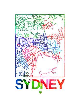 Sydney Watercolor Street Map by NaxArt