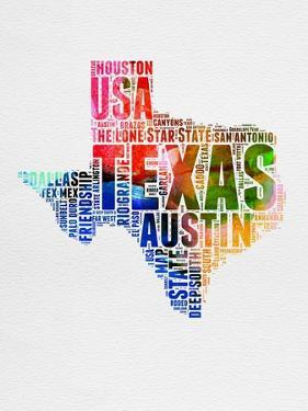 Texas Watercolor Word Cloud by NaxArt