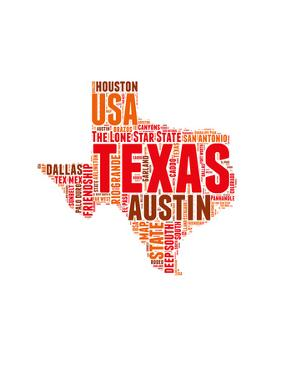 Texas Word Cloud Map by NaxArt