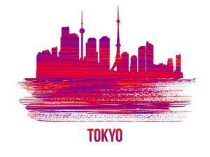 Tokyo Skyline Brush Stroke - Red by NaxArt