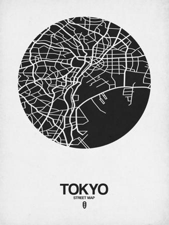 Tokyo Street Map Black on White by NaxArt
