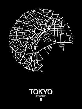 Tokyo Street Map Black by NaxArt