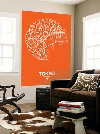 Tokyo Street Map Orange by NaxArt