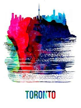 Toronto Skyline Brush Stroke - Watercolor by NaxArt