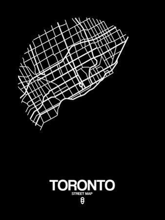 Toronto Street Map Black by NaxArt