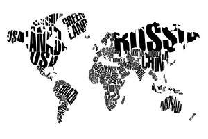 Typography World Map 5 by NaxArt