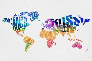 Typography World Map 7 by NaxArt
