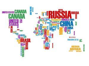 Typography World Map 8 by NaxArt