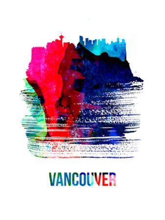 Vancouver Skyline Brush Stroke - Watercolor by NaxArt