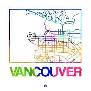 Vancouver Watercolor Street Map by NaxArt