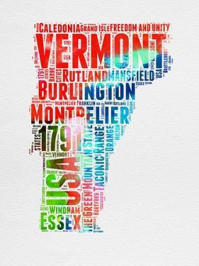 Vermont Watercolor Word Cloud by NaxArt